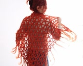 Crochet wrap shawl boho fashion in orange, Thalia, vegan friendly, ready to ship
