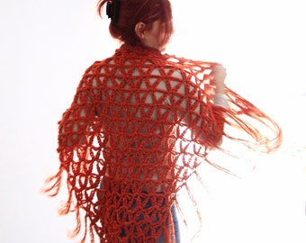 Crochet wrap shawl boho fashion in orange, Thalia, vegan friendly, ready to ship