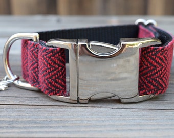 Red and Black Tweed Herringbone Dog Collar - Adjustable Collar with Metal Hardware and Metal Buckle