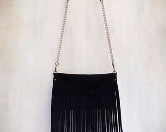 fringe bag, fringed leather crossbody, black suede purse, boho bag, fringe clutch