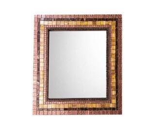 Mosaic Mirror, Brown Bronze, Wall Mirror, Decorative Mirror