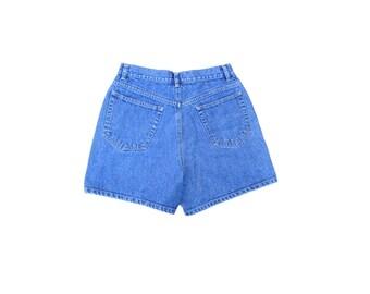 Denim Shorts / 1990s / High Rise / Cotton / Blue Jean / Classic / No Stretch / 28 Waist