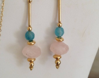 Rose Quartz Gold Filled Dangle Earrings