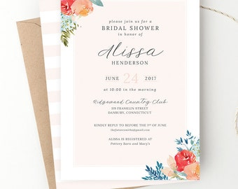 Watercolor Floral Bridal Shower Invite, Organic Wedding, Blush Shower Invitation, Baby Shower, Rehearsal Dinner, Printed or Digital File