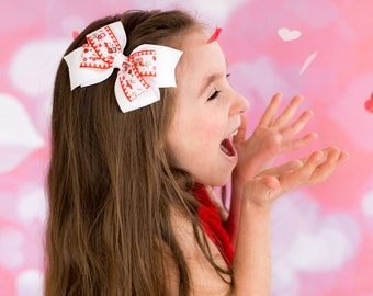 Heart Hair Bow - Red Hair Bow - White Hair Bow - Toddler Hair Bow - Valentines Day Hair Bow - Girls Valentines Gift - Girls Hair Bows