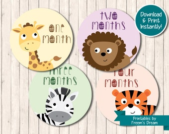 Printable Baby Animal Monthly Stickers - Jungle or Zoo Animal Monthly Bodysuit Stickers - Milestone Stickers - Just Born - 12 Months - BS13