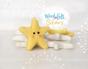 Wool Felt Stars - Large Wool Felt Stars - 9cm Wet Felted Stars - Felted Stars - Wet Felted Stars - Large Felt Stars - Choose a Color