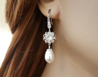 Crystal and Pearl Earrings, Teardrop Pearl Wedding Earrings, Prom, Crystal Flower Bride Bridal Earrings, CZ Earrings Cubic Zirconia Earrings