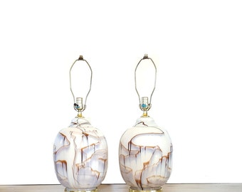 Mid Century Lamps ~ Large Glass Ginger Jar Lamps ~ Marbleized / Drip ~ Cream And Brown ~ Vintage Lighting