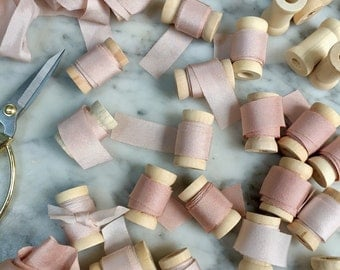 Hand dyed Silk Ribbon Sample, Paper styling ribbon, 1 Yard Hand dyed Silk Ribbon, Silk Ribbon, Blush Silk, Blush Ribbon, Styling Ribbon