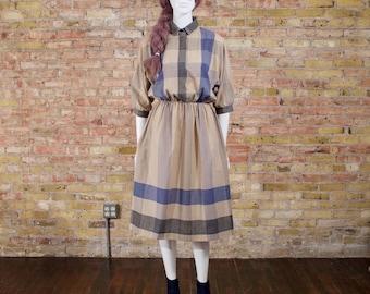 80s plaid shirtwaist dress / midi dress / full midi / causal dress / collared dress / slouchy / wide plaid dress
