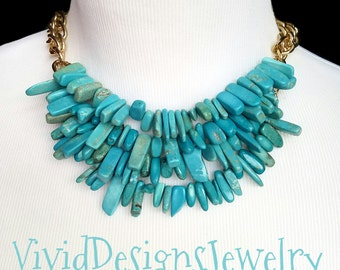 Spiked Turquoise Statement Necklace - Spiked Turquoise Bib Jewelry - Coachella Fashion Necklace - Turquoise Statement Necklace