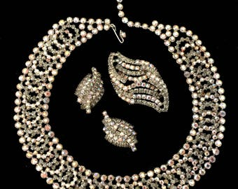 Kramer Rhinestone Parure, Necklace Brooch & Earring Set, Smoky Grey and Aurora Borealis, Vintage Wedding Set, Special Occasion, Signed