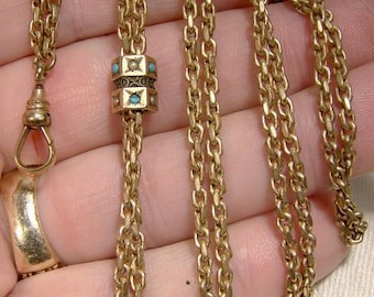 Victorian Gold Filled Watch Chain with 10K Turquoise Pearls Slide 1890 1900 Watchchain