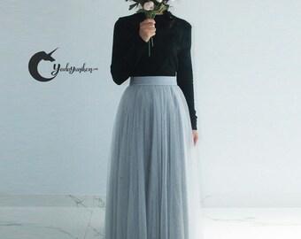 Gray Tulle Skirt- Soft Tulle Skirt, Tea Lengh Tulle Skirt, Adult Tutu