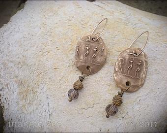 Bronze Petroglyph Amulet Earrings
