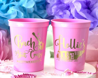 Custom Party Cups, Bachelorette Party Favor, Bridal Party, Plastic Stadium Cup, Personalized Cups, Bar Crawl, Birthday Party Cups