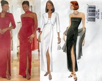 Butterick 6008 UNCUT Size 18, 20, 22 Misses' Evening Dress, Evening Length, Evening Jacket & Scarf