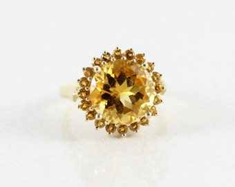 10k Solid Yellow Citrine Ring Size 7 1/4