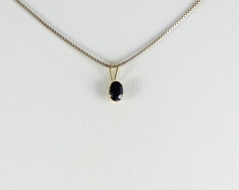 14K Yellow Gold Natural Blue Sapphire Pendant 1/2 Carat
