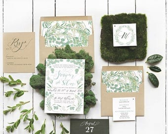 Green Leaves Wedding Invitation Kit - Botanical Greenery Rustic Wedding Invites - Printable Floral Wedding Set