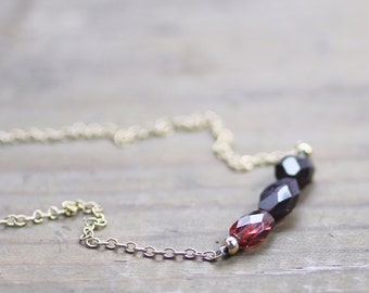 Faceted Garnet Stone Necklace, Sterling Silver or 14k Gold Filled, January Birthstone Deep Red Gemstone Jewelry, Triple Garnet Bead Necklace