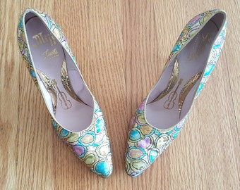 Vintage Glam Colorful Shimmer Pumps Miiji Size 8 Women's Ladies Shoes Heels Retro Mod Mad Men 1960s Classic Fun Bright Print Sparkly