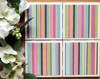 Ceramic Coasters - Ceramic Tile Coasters - Coaster Set - Table Coasters - Striped Coasters - Coaster - Tile Coaster - Coasters for Drinks