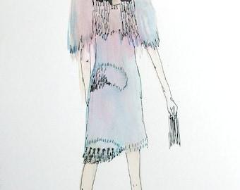ORIGINAL watercolor***illustration***aquarel***My Weddingdress