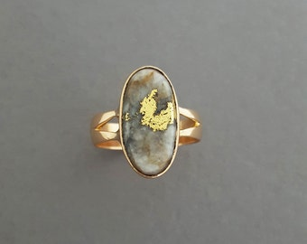 RESERVED FOR K - Antique Victorian 18K Rosey Gold, Gold In Quartz Cocktail Ring - Statement Ring