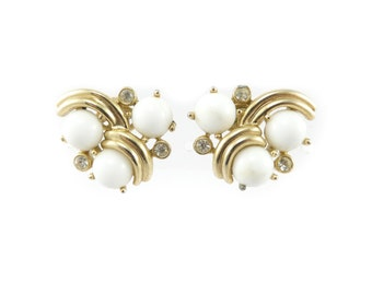 Vintage Trifari Earrings, White, Glass Cabochons, Rhinestones, Gold Tone, Signed, Clip Ons