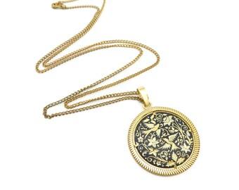 Vintage Spanish Bird Necklace, Damascene, Medallion, Black Enamel, Gold Tone