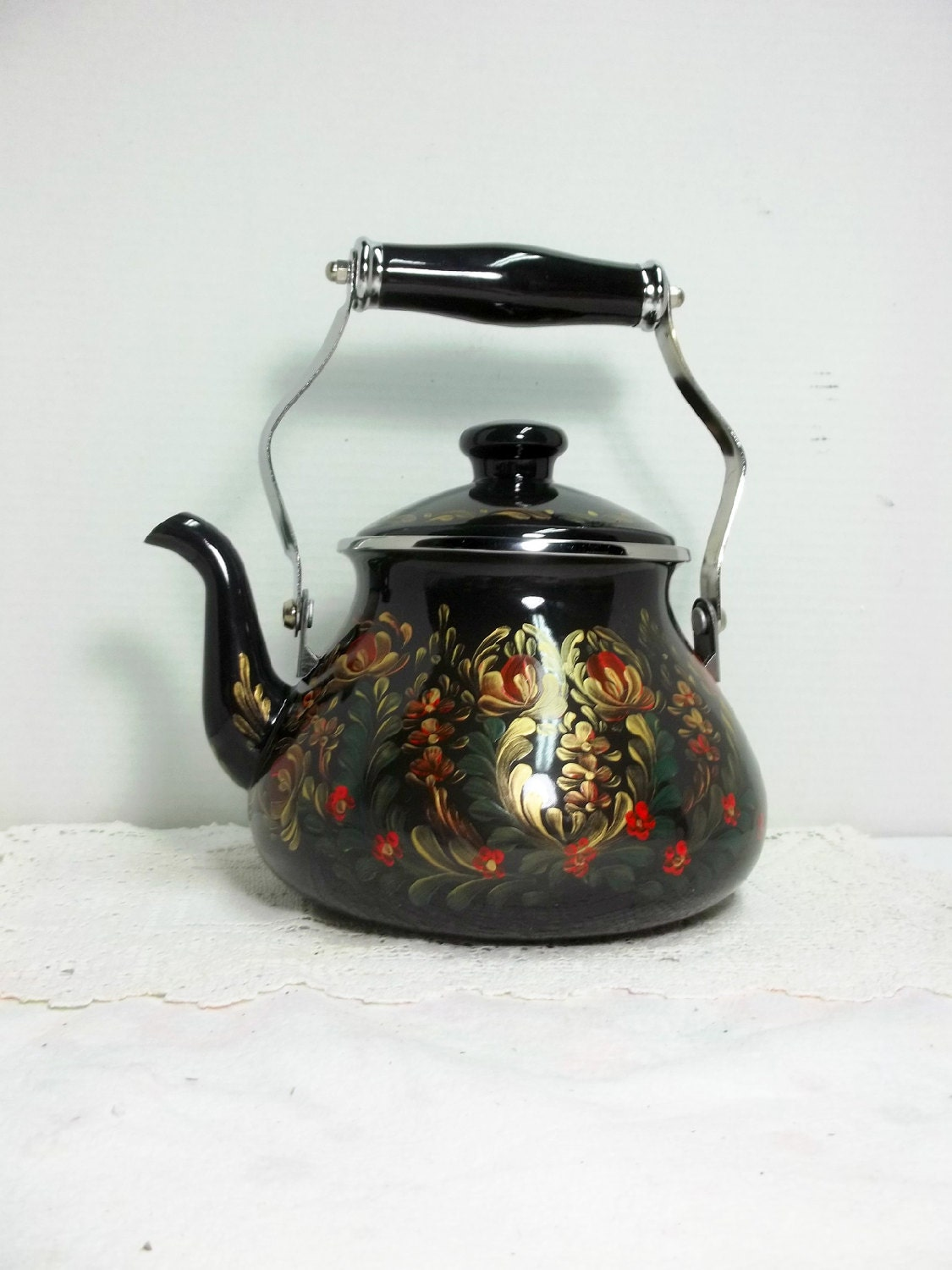 Hand Painted Blue Tea Kettle