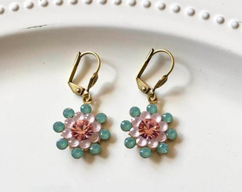 Vintage Swarovski Crystal Flower Earrings Pacific Opal, Matte Pink and Rose Pink Shabby Chic Floral Drop Earrings Spring Garden Party