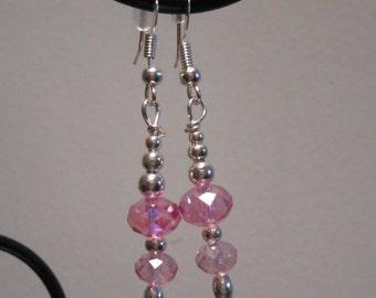 Pink Crystal Earrings No. 144