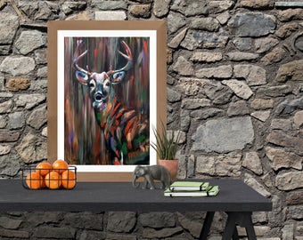 Rustic Colorful Deer Oil Painting PRINT for Nature Lovers
