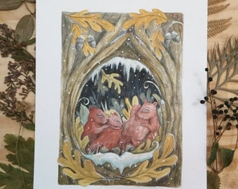 Squirrel family in winter -A4 giclée print by Charlotte Lyng