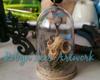 Large Antiqued Resin Cat Kitten Skull & Butterflies, Grass and Tree Jar Necklace or Hanging or Standing Ornament. Gothic, Pagan, Diorama