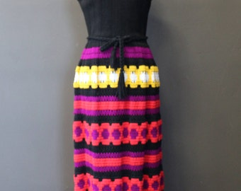 60's Ruth Norman For Gay Gibson Black Wool Crotchet Maxi Dress--Union Made