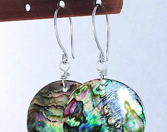 Abalone Earrings / Round Natural Paua Shell Jewelry / Sterling Silver French Hooks / Real Sea Shell Earrings