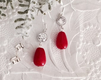 Christmas Red Jade and CZ Earrings,Bridesmaids Gemstone and Bezel Earrings,STERLING SILVER,Wedding Jewelry,Holiday Earrings,Bridesmaids Gift