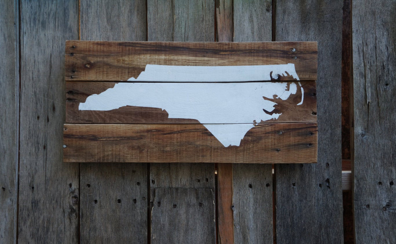 north carolina pallet sign custom rustic hand painted stained