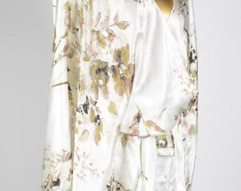 Watercolor Floral Silk Short Robe - Faux Kimono Dressing Robe with Belt for Sleepwear or Loungewear