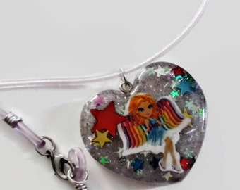 Rainbow Angel Necklace, Lisa Frank, Heart Shaped Resin Pendant charm