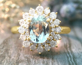 Aquamarine and Diamond Halo Engagement Ring   Prong Setting   Solid 14K Gold   Fine Jewelry   Free Shipping
