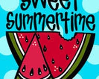 Monogrammed Watermelon Sweet Summertime Garden Flag