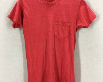 Vintage 70's Blank Red Pocket T-Shirt 50/50 Fits like a Small