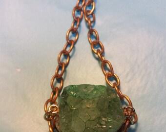 Peridot Green Quartz Crystal Druzy Necklace