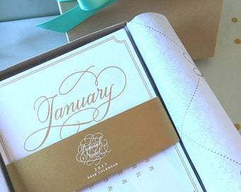 On Sale! 2017 Desk Calendar Refill -Gold and White with Elegant Hand Lettering