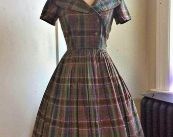 1950s Green & Purple Plaid Double Breasted Day Dress with Full Skirt